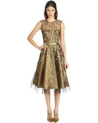 Oscar de la Renta Sleeveless Lame and Bead Embroidered Dress - Lyst