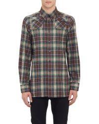 Raf Simons Long Plaid Flannel Shirt - Lyst