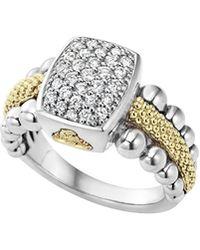 Lagos | Sterling Silver Caviar & Diamond Rectangle Ring | Lyst