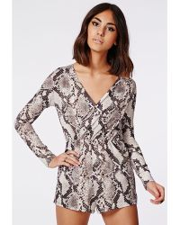 Missguided Sass Snake Print Plunge Wrap Playsuit Beige - Lyst
