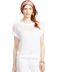 Ralph Lauren Knit Cotton Mesh Sweater - Lyst