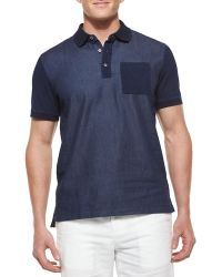 Michael Kors Chambray Dyed Polo Shirt - Lyst