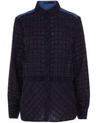 Karen Millen Cotton Check Shirt - Lyst