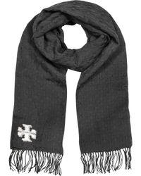 Tory Burch | Black Whipstitch-t Merino Wool Scarf | Lyst