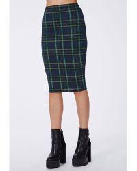 Missguided Corine Tartan Jersey Midi Skirt Navy - Lyst