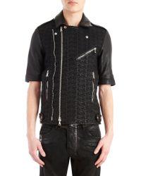 Balmain Basketweave Knit Leather Moto Jacket - Lyst