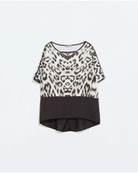 Zara Animal Printed T-shirt - Lyst