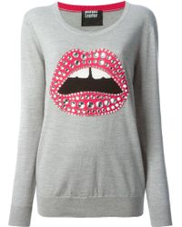 Markus Lupfer Embellished Lips Sweater - Lyst