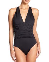 Badgley Mischka One-Piece Shirred Swimsuit - Lyst