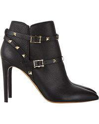 Valentino Rockstud 100 Leather Ankle Boot - Lyst