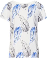 Reiss Dorrian Printed Jersey Top blue - Lyst