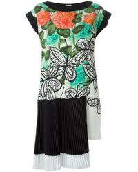 Isola Marras Pleat Panel Printed Dress - Lyst