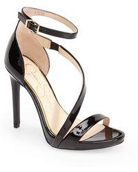 Jessica Simpson 'Rayli' Patent Ankle Strap Sandal black - Lyst