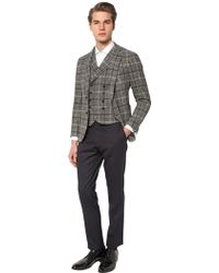 Tagliatore Wool Blend Prince Of Wales Vest - Multicolour