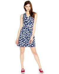 Maison Jules Sleeveless Surplice-Neck Printed Dress - Lyst