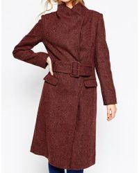 ASOS - Coat In Funnel Neck In Tweed - Lyst