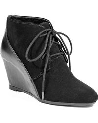 French Connection - Razuille Suede Leather Wedge Booties - Lyst
