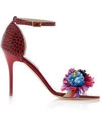 Stella Jean Floral Embellished Leather Sandals - Lyst