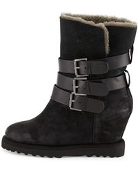 Ash Yes Buckle Wedge Suede Boot - Lyst