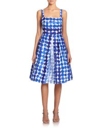 Kay Unger Shantung Dotted Dress - Lyst