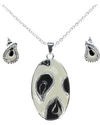 Indulgence Jewellery - Silver Plated Black And White Set - Lyst