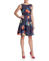 Betsey Johnson Floral-Print Fit-And-Flare Dress - Lyst