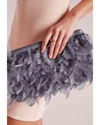 Missguided Feather Clutch Bag Gray
