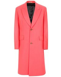 Paul Smith | Men's Bright Pink Wool And Cashmere-blend Two-button Overcoat | Lyst