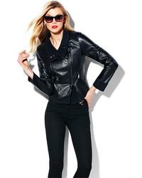 Vince Camuto Asymmetrical Leather Jacket - Black