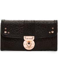 hayden-harnett Leather Flap Lock Wallet Black