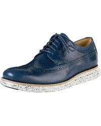 Cole Haan Lunargrand Long Wing-Tip Oxford With Speckled Contrast - Blue
