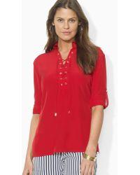 Ralph Lauren Lauren Laceup Silk Shirt - Lyst