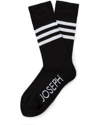 JOSEPH Cotton Stripe Socks - Black