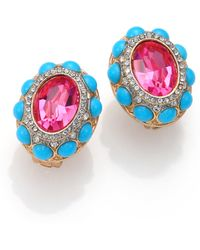 Kenneth Jay Lane Cabochon Cluster Clip-On Button Earrings - Lyst