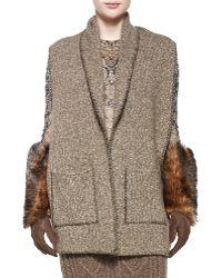 Ralph Lauren Collection Cashmere Melange Scarf W/pockets - Brown