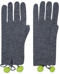 CASH CA - Grey Pom Pom Cashmere Gloves - Lyst