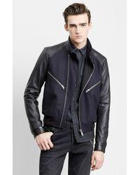 The Kooples Leather Sleeve Wool Blend Moto Jacket - Lyst
