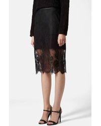 Topshop Women'S Lace Overlay Pencil Skirt - Lyst