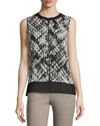 Vince | Basketweave-print Double-layer Silk Top | Lyst