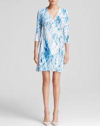 Calvin Klein Line Print Faux Wrap Dress - Lyst