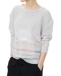 Inhabit Sheer Cotton Crew Sweater - Lyst