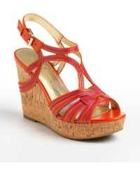 Ivanka Trump Honey Leather Wedge Sandals - Lyst