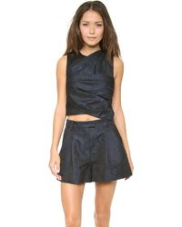 3.1 Phillip Lim Twisted Origami Pleated Cropped Top - Lyst