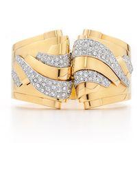 Fred Leighton - Estate Vintage 18K Yellow Gold And Diamond Detachable Clip Retro Cuff Bracelet - Lyst