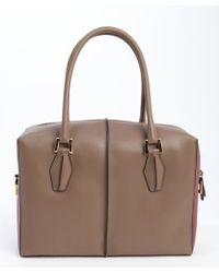 Tod's Taupe and Wine Leather Small Top Handle Tote - Lyst