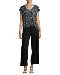 F.t.b By Fade To Blue - V-neck Rolled-cuff Burnout Tee - Lyst