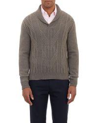 Barneys New York Shawl-Collar Aran Sweater - Lyst