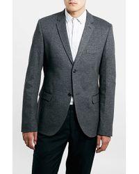 Topman Skinny Fit Charcoal Jersey Blazer - Lyst