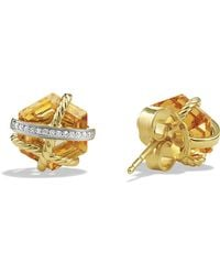 David Yurman Cable Wrap Earrings With Champagne Citrine & Diamonds In Gold - Lyst