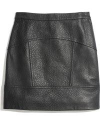 Madewell Pebbled Leather Miniskirt - Lyst
